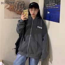 Hoodies ผู้หญิงสไตล์เกาหลีนักเรียนหลวมซิปขนาดใหญ่ Ulzzang ทั้งหมดตรงกับแฟชั่นพิมพ์ Zip Up สตรีเสื้อ