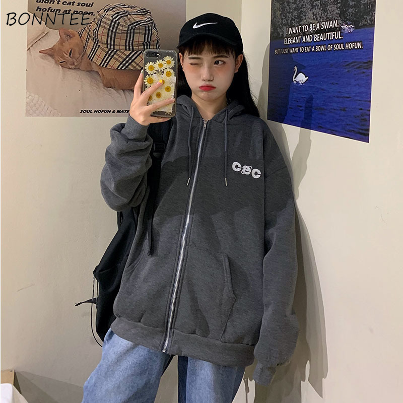 Hoodies Women Korean Style Students Loose Zipper Large Ulzzang All-match Simple Fashion Letter Printed Zip-up Womens Sweatshirts