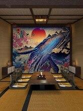 Estilo japonês flutuante fundo mural quarto e vento auto adesivo sushi restaurante decoração onda imagem papel de parede