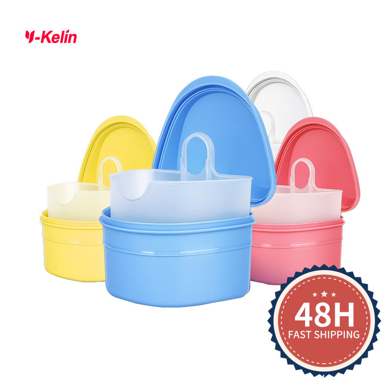 2018 New Y-kelin Denture Box  High Quality full denture soaking case prosthesis container  bath box 4 color free gifts