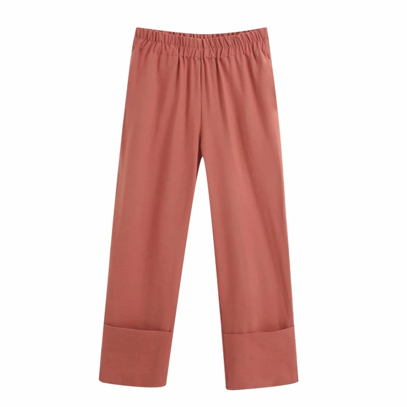 2020 Women Stylish High Waist Solid Color Curling Pants Female Casual Pocket Straight Trousers Office Wear Pantalones Mujer P610