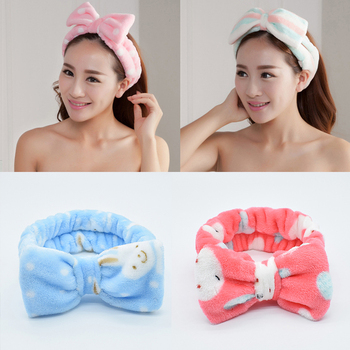 Winter Elastic Coral Fleece Hairband Bowknot Headband for Spa Bath Shower Makeup Face Wash Cosmetic Headband Hair Accessories image