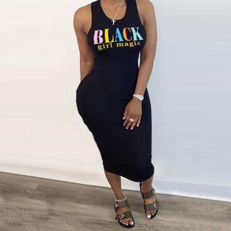 New Summer Women Fashion S 5XL Plus Size Black Girl Magic Print Sleeveless O Neck Slim Mid Calf Dress Sexy Bodycon Maxi Dresses