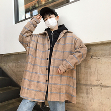 Korean style jacket coat loose wild tide brand casual oversized mens beige  purple plaid stripe windbreaker streetwear harajuku