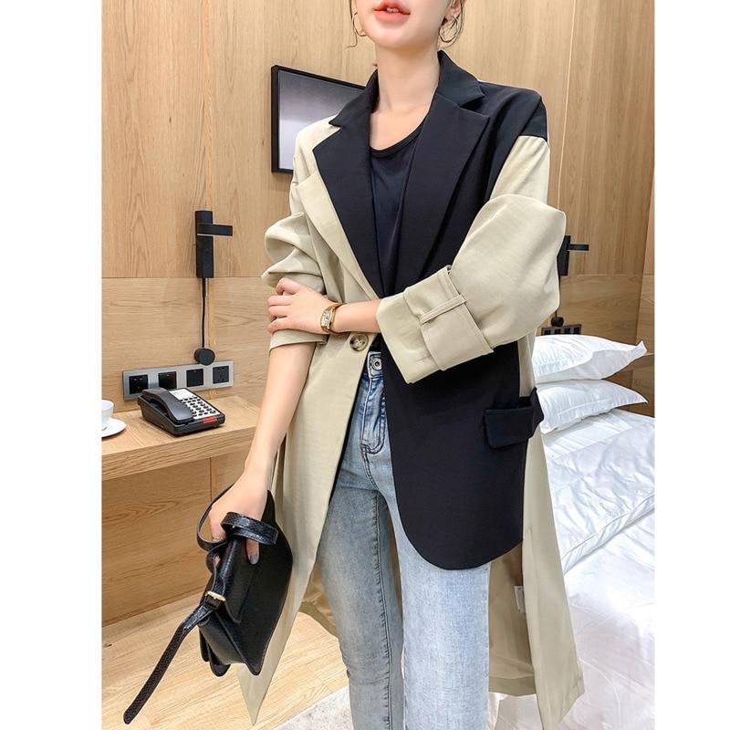 LANMREM Can Ship 2020 Spring Fashion New Design Suit Patchwork Hit Color Windbreaker For Women Loose Long Coat Overknee YH980
