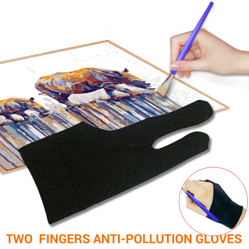 Drawing & Pen Graphic Tablet Pad Household Gloves Two Finger Anti-fouling Glove For Artist Right Left Hand Black Glove Free Size