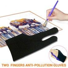 Desenho & caneta gráfica tablet almofada luvas de uso doméstico dois dedo anti-incrustação luva para artista mão esquerda direita luva preta tamanho livre