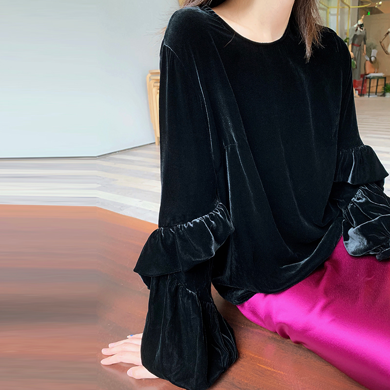 Silk Velvet Patchwork Sweater Plus Size O Neck Lantern Sleeve Solid 2 Colors Tops Elegant Casual Loose Style New Fashion