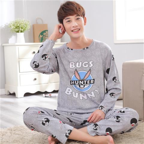 Male Plus Size Sleep Clothing Spring And Autumn Long Simple Models Sleeve Pijama Pajamas Set For Home Service Men Pyjamas Suit