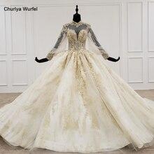 HTL1141 vestido de baile de encaje vestidos de novia de manga larga de cuello alto con apliques vestido de novia con hijab vestido casamento civil
