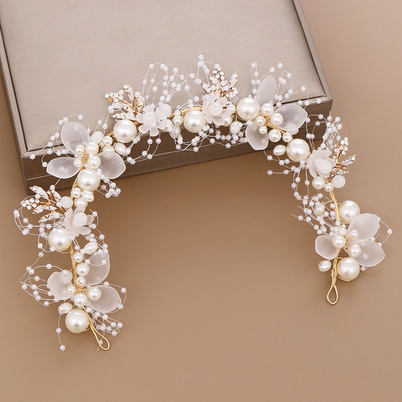ACRDDK Handmade Bridal Flower Faux Pearl Crystal Leaves Wedding Headband Women Hairband Children Hair Accessories SL