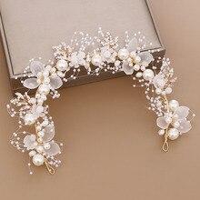 Acrddd hecho a mano flor nupcial Cristal de perla falsa hojas boda diadema mujeres diadema Niños Accesorios para el cabello SL