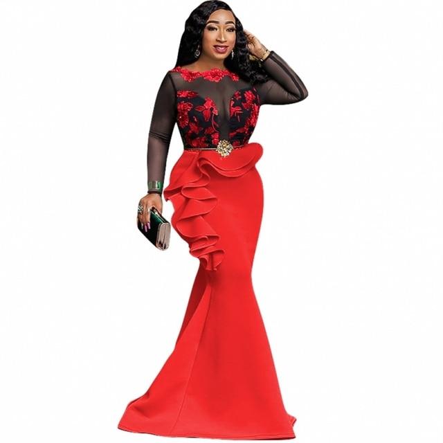 فساتين الأفريقية للنساء السيدات فستان حورية البحر طويل مثير شاش شفاف الكشكشة مساء Bodycon فستان ماكسي البوق