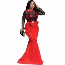 Afrykańskie sukienki dla kobiet panie długa strona syrenka sukienka seksowna przezroczysta siatka Ruffles wieczór Bodycon Maxi sukienka trąbka