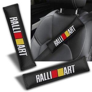 2 pçs almofadas de cinto de segurança do carro assento alça de ombro almofada capa para mitsubishi ralliart lancer 9 10 asx outlander 3 pajero distintivo