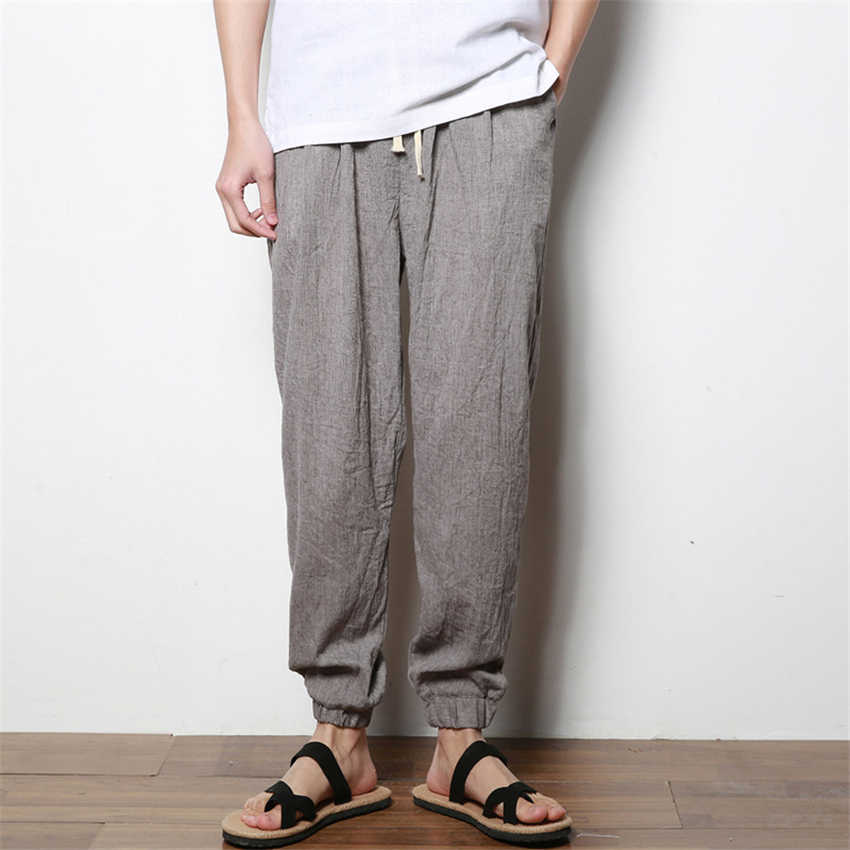 Summer Man Linen Trousers Chinese Fashion Style Thin Harem Pants Elastic Wais Casual Breathable Solid Kung Fu Chinese Bottom