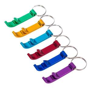 Portable Beer Bottle Opener Keychain 4 In 1 Pocket Aluminum Beer Bottle Opener Can 5 Colors Wedding Party Favor Gifts(China)