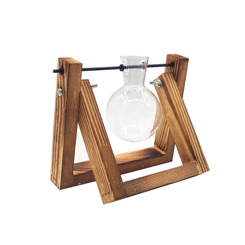 Террариум креативный гидропонный завод прозрачная ваза деревянная рамка ваза декоративная стеклянная настольная растение бонсай Декор ваза для цветов - Цвет: 14x16cm