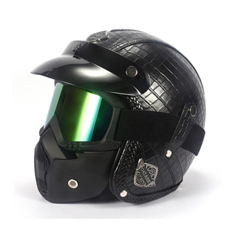 Шлемы из искусственной кожи 3/4 мотоциклетный шлем с открытым лицом винтажный мотоциклетный шлем с goggle Маска для harley шлем