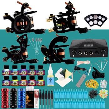 цена на Professional Tattoo Kit 4 Machines Guns Set Design Pigment Inks Set LCD Power Needles Set Body Art Permanent Complete Tattoo Set