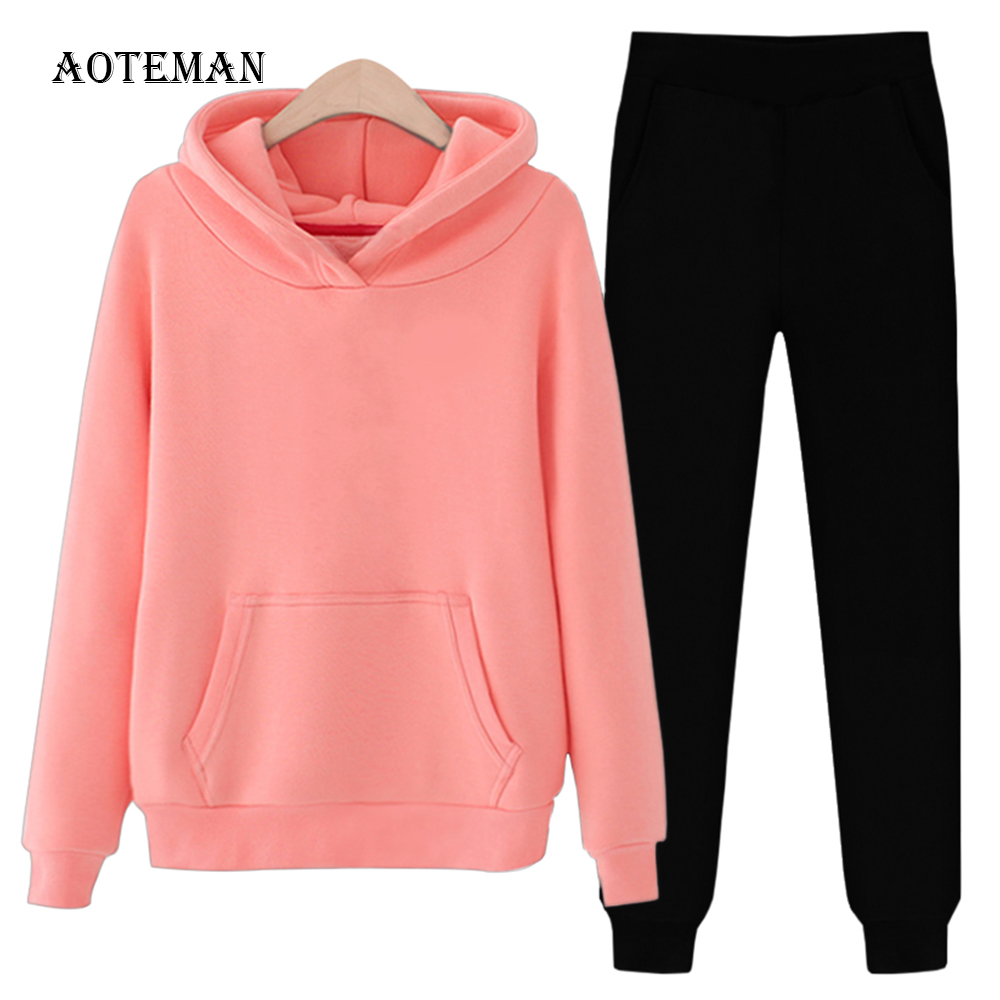 Autumn Winter Women Sets 2019 Casual Oversize Solid Warm Pullover Hoodies Sweatshirts Pants Two Piece Set Female Outfits Suits