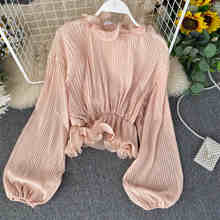 NiceMix Retro Pleated blouse Women Stand Collar Autumn New Korean Long Sleeve Chiffon Shirt Short blouse Trend Blusas Mujer(China)