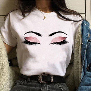 2020 Hot Harajuku Shiny eyelash Graphic T Shirt Women Eye shadow Grunge T-shirt Fashion Tshirt Ullzang Top Tee Female