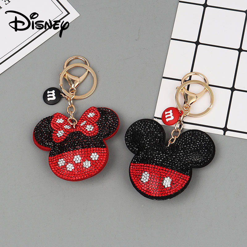 Crystal Mickey Keychain Lanyard Creative Small Gift Girls Fashion Minnie Key Accessory Toys Disney Keychain Bag Accessories