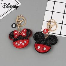 Crystal Mickey Keychain Lanyard Creative Small Gift Girls Fashion Minnie Key Accessory Toys Disney Keychain Bag Accessories