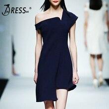 INDRESSME женское облегающее вечернее платье Asmmetrical женское платье на одно плечо Vestidos Новая мода