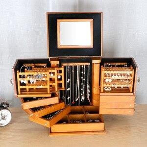 Image 2 - 2020 caixas de jóias de madeira grande capacidade de madeira maciça jóias brinco caso de armazenamento do agregado familiar princesa caixas de jóias estilo europeu