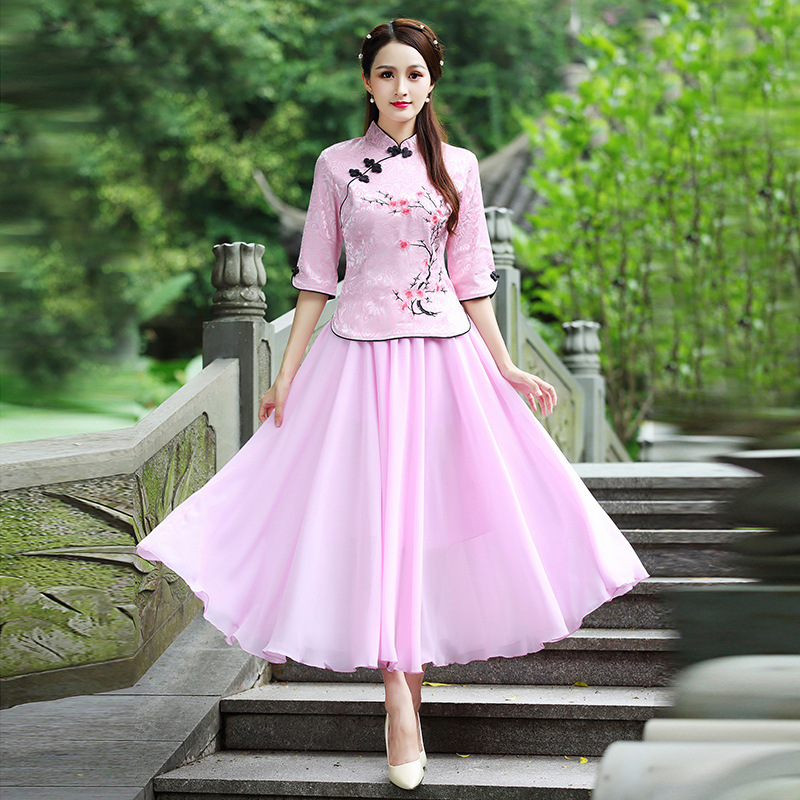 2019 Cheongsam Set Summer New Style Fashion Improved Embroidery Cheongsam Large Size Half-sleeve Shirt Chinese Costume Two-Piece