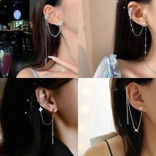 S925 clipe de orelha brincos jóias personalidade orelha clipe borla cz brinco coreano longo brinco pendientes orelha manguito preso em punhos