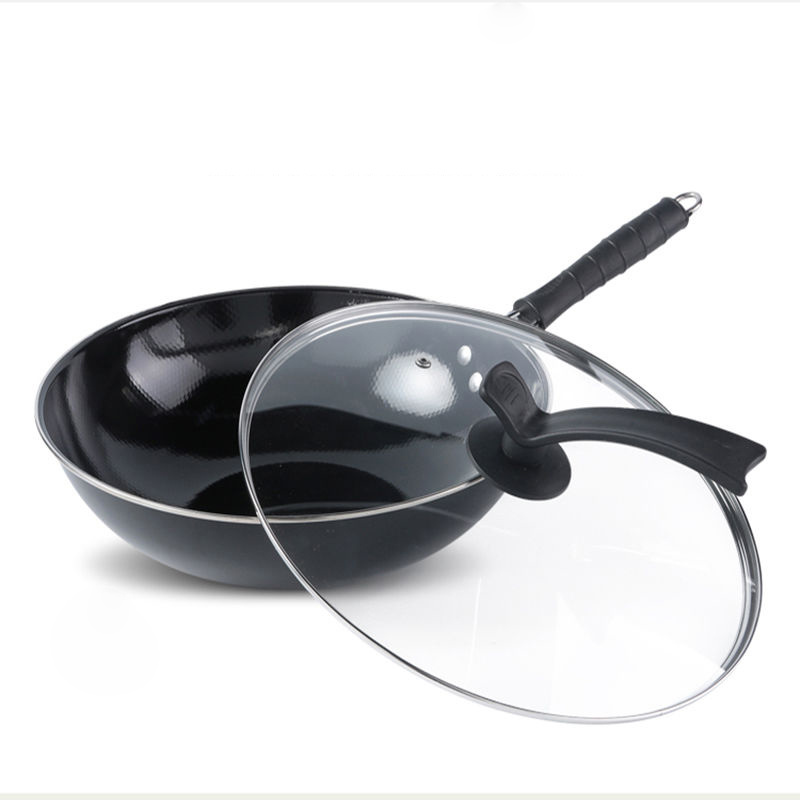 Enamel Wok Non-stick Pan Household Uncoated Non-rust Iron Pan Gas Stove Induction Cooker Special Flat Bottom Wok Cooking Pot