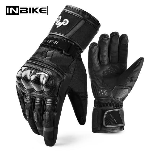 Inbike冬の手袋オートバイ防水暖かいバイク手袋ギア保護熱フリース男性オートバイ防風手袋