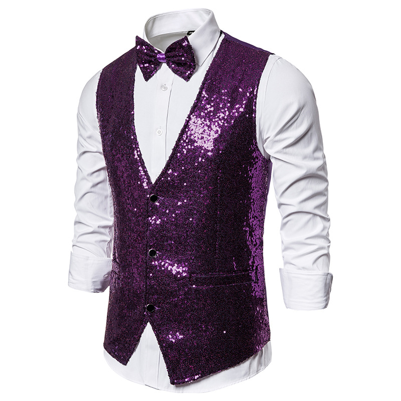 Purple Sequins Vest Men Slim Fit V Neck Suit Vest Waistcoat Men DJ Nightclub Singers Perform Vests Male Colete Social Masculino
