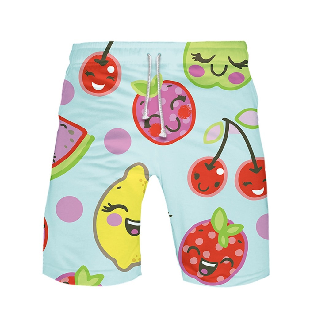 Fashion Fruit Casual Men Short Men Pant Strapped Color Summer Beach Boardshorts Cotton Polyester Mens Shorts Pants Drawstring