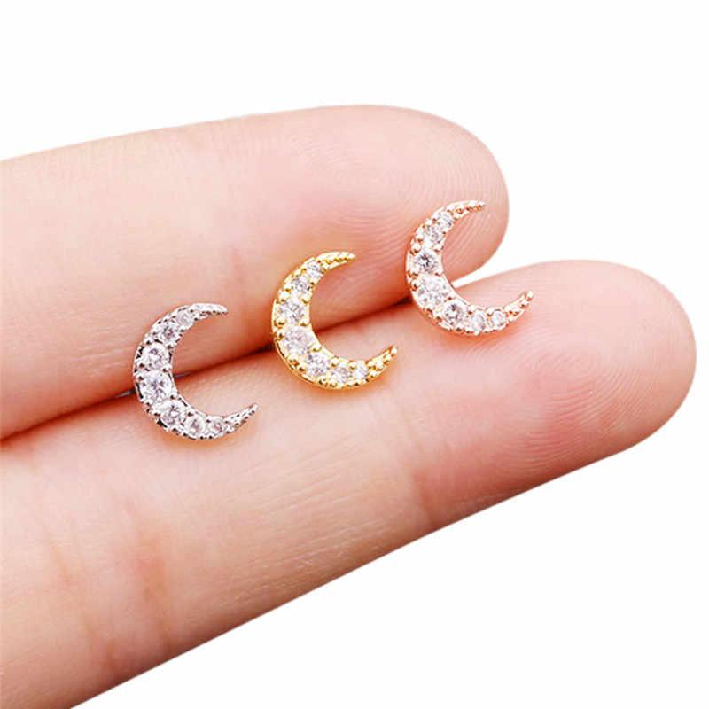 20G paslanmaz çelik CZ çiçek yıldız ay küçük kıkırdak düğme küpe Tragus kale Conch Helix Piercing takı kadın aksesuarları