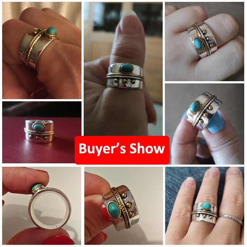 โบฮีเมียขนาดเล็กสีฟ้าหินอัญมณีทองเชือกเครื่องประดับแหวนผู้หญิง Vintage Silver สี Knuckle Finger แหวนเครื่องประดับ Z4M126