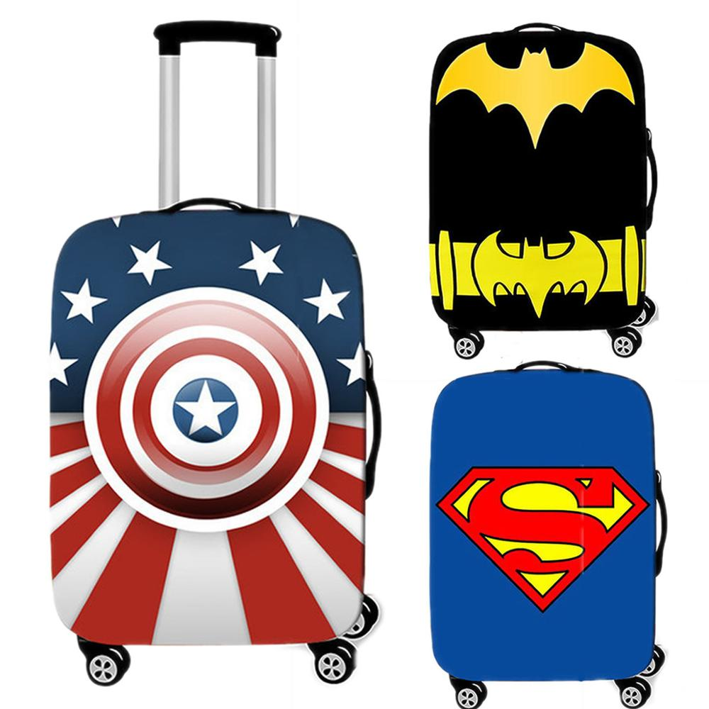 Cartoon Luggage Case Superman Protective Cover Waterproof Thicken Elastic Suitcase Cover Blue Apply 18-32 Inch Travel Accessorie