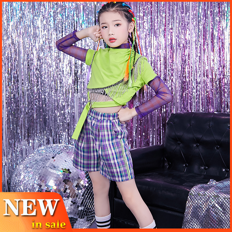 Girls' Festival Jazz Dance Clothing Long Sleeve Tops Fashion Children'S Drum Performance Outfits Hip Hop Suit Kids Stage Costume