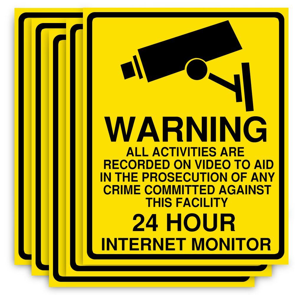 Warning Sign 24 Hour Video Surveillance Security CCTV Camera 2Pcs Sticker