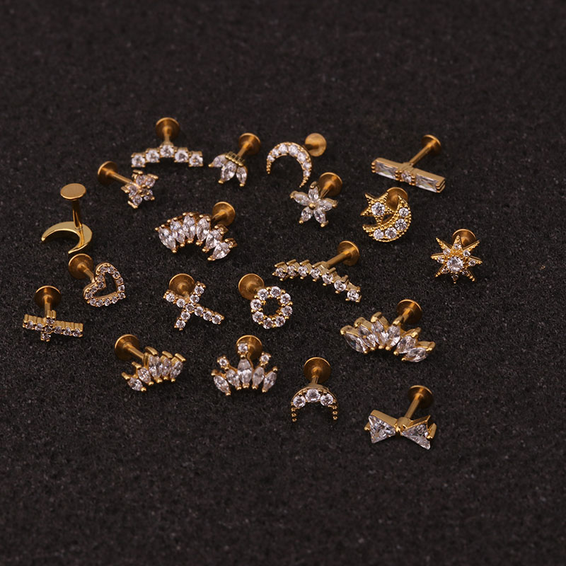 New Arrival 16G Flat Labret Back Ear Piercing Crystal Flower Crown Heart Moon Cz Cartilage Helix Daith Conch Tragus Stud Earring