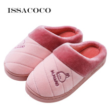 ISSACOCO Women Winter Warm Slippers Cotton Lovers Home Furry Shoes For Bedroom Pantuflas