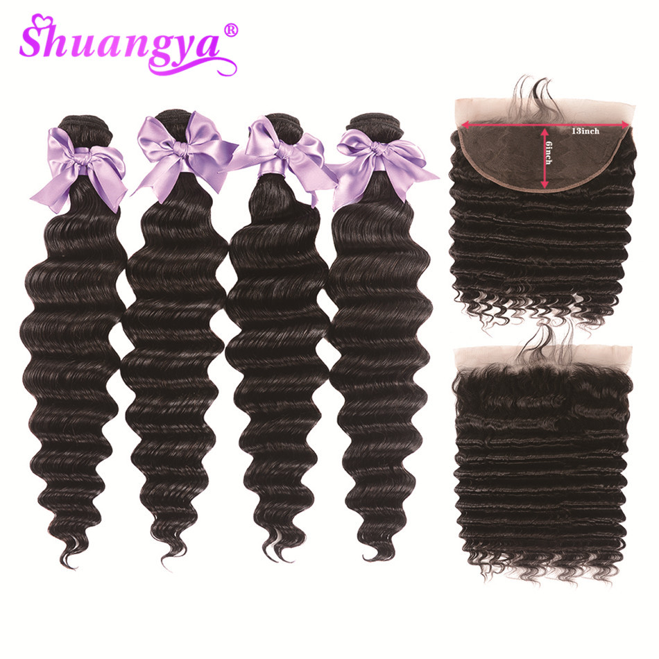 Peruvian Loose Deep Wave Bundles With Frontal 13x6 Lace Frontal Closure With Bundles Remy Human Hair Frontal With Bundles