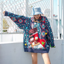 New woman large size christmas sweater rainbow snowman Christmas stocking fashion retro Thicken(China)