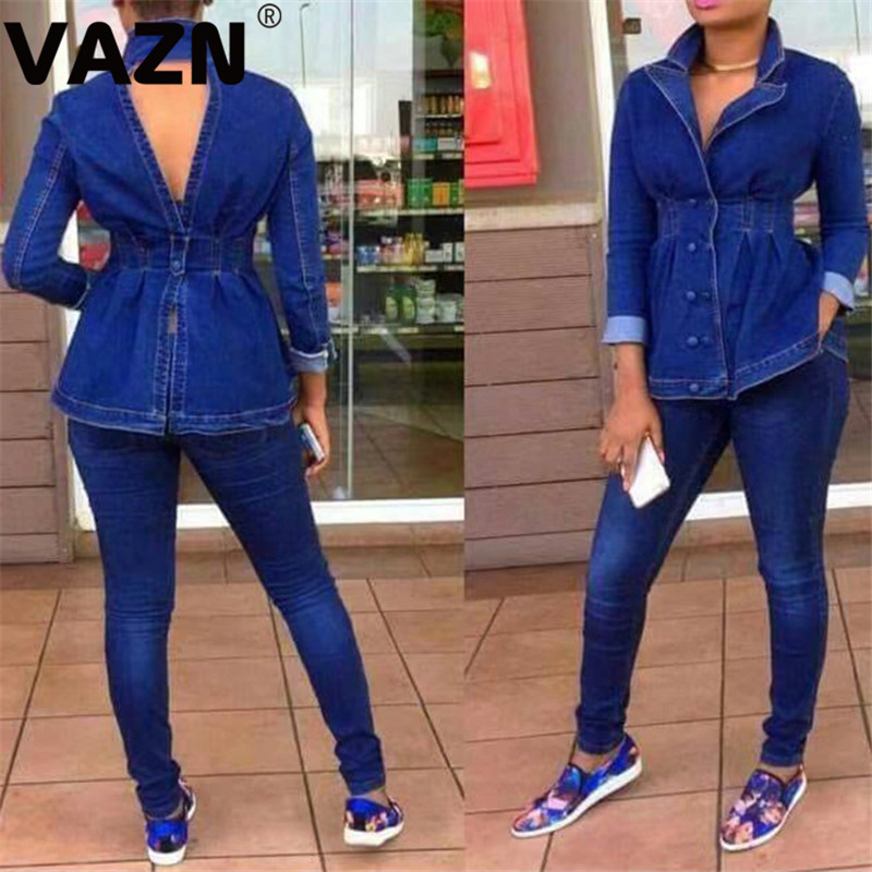 VAZN Top Design 2020 Spring Sexy Aldy Jean Solid 2-piece Long Set Full Sleeve Double-breasted Tops Slim Long Jeans Set Cool Sets