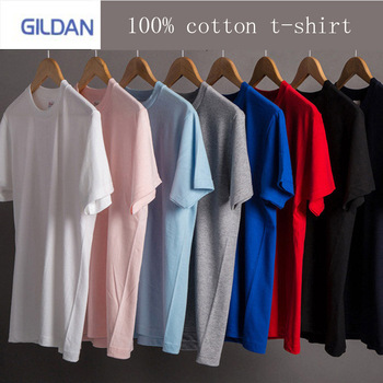 GILDAN brand mens solid color T-shirt 100% cotton short-sleeved track and field running fashion shirt T-s