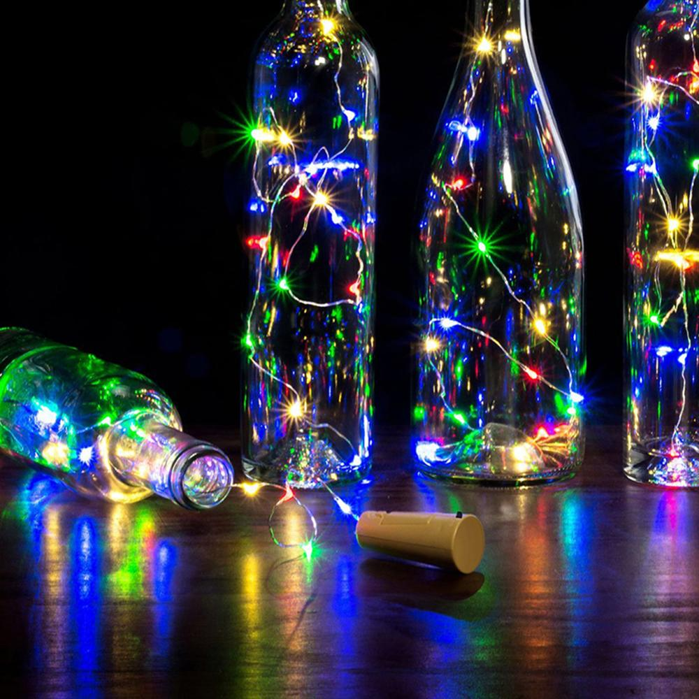 1/2M Wine Bottle Lights 10/20 LEDS Cork Garland DIY LED String Lights Cork Shape Silver Copper Wire Colorful Fairy String Lights