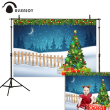 Allenjoy backdrop Christmas tree gift lattice forest snow winter party decoration photophone photographic backgrounds photozone